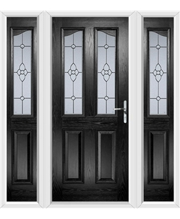 The Birmingham Composite Door in Black with Finesse Glazing and matching Side Panels