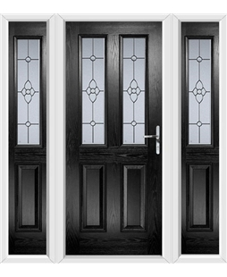The Cardiff Composite Door in Black with Finesse Glazing and matching Side Panels