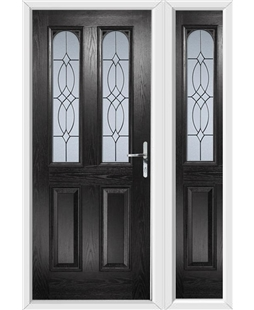 The Aberdeen Composite Door in Black with Flair Glazing and matching Side Panel