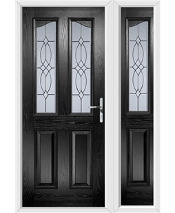 The Birmingham Composite Door in Black with Flair Glazing and matching Side Panel