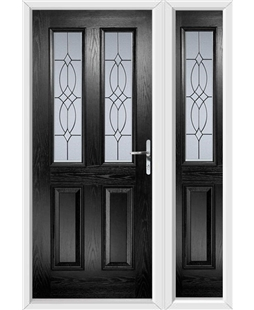 The Cardiff Composite Door in Black with Flair Glazing and matching Side Panel