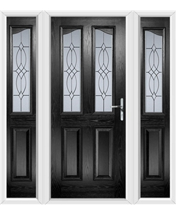 The Birmingham Composite Door in Black with Flair Glazing and matching Side Panels