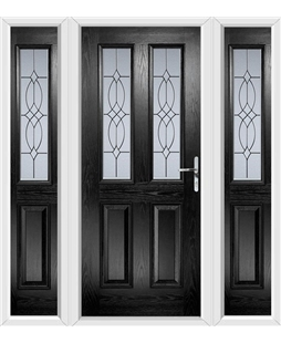 The Cardiff Composite Door in Black with Flair Glazing and matching Side Panels
