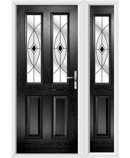 The Cardiff Composite Door in Black with Black Fusion Ellipse and matching Side Panel
