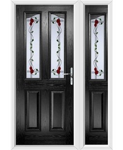 The Birmingham Composite Door in Black with Mackintosh Rose and matching Side Panel