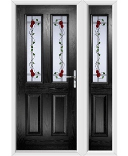 The Cardiff Composite Door in Black with Mackintosh Rose and matching Side Panel