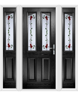 The Birmingham Composite Door in Black with Mackintosh Rose and matching Side Panels