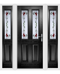 The Cardiff Composite Door in Black with Mackintosh Rose and matching Side Panels