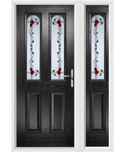 The Aberdeen Composite Door in Black with Mackintosh Rose and matching Side Panel