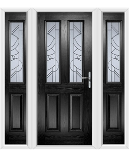 The Cardiff Composite Door in Black with Zinc Art Abstract and matching Side Panels