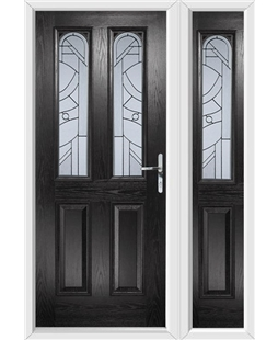 The Aberdeen Composite Door in Black with Zinc Art Abstract and matching Side Panel