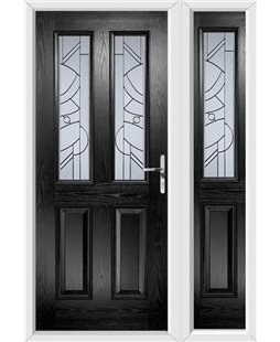 The Cardiff Composite Door in Black with Zinc Art Abstract and matching Side Panel