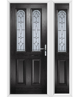 The Aberdeen Composite Door in Black with Zinc Art Clarity and matching Side Panel