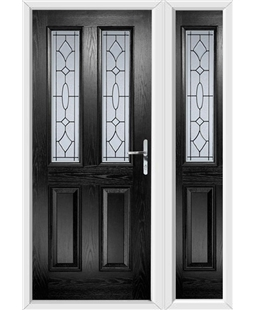 The Cardiff Composite Door in Black with Zinc Art Clarity and matching Side Panel