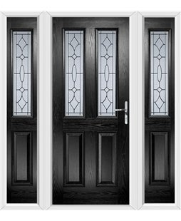 The Cardiff Composite Door in Black with Zinc Art Clarity and matching Side Panels