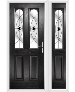The Aberdeen Composite Door in Black with Black Fusion Ellipse and matching Side Panel