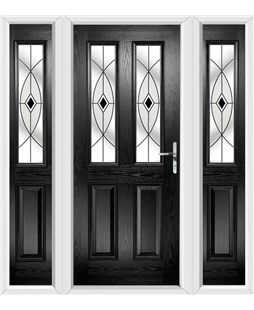 The Cardiff Composite Door in Black with Black Fusion Ellipse and matching Side Panels