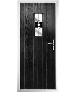 The Taunton Composite Door in Black with Black Crystal Bohemia