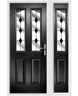 The Birmingham Composite Door in Black with Black Diamonds and matching Side Panel