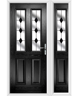 The Cardiff Composite Door in Black with Black Diamonds and matching Side Panel