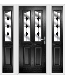 The Birmingham Composite Door in Black with Black Diamonds and matching Side Panels
