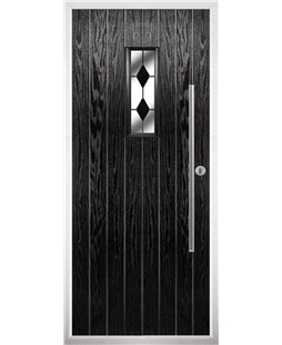 The Zetland Composite Door in Black with Black Diamonds