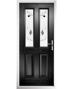 The Cardiff Composite Door in Black with Black Murano