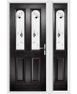 The Aberdeen Composite Door in Black with Black Murano and matching Side Panel