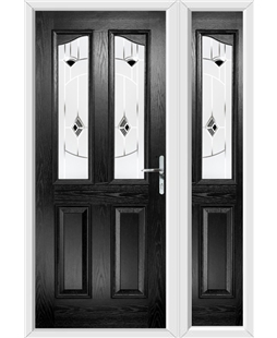 The Birmingham Composite Door in Black with Black Murano and matching Side Panel