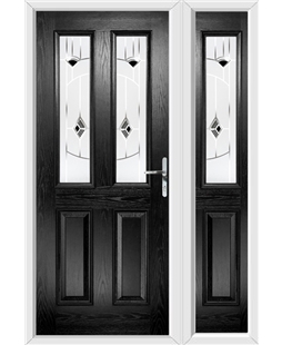 The Cardiff Composite Door in Black with Black Murano and matching Side Panel