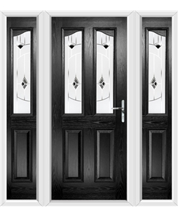 The Birmingham Composite Door in Black with Black Murano and matching Side Panels