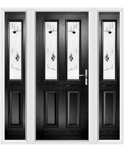 The Cardiff Composite Door in Black with Black Murano and matching Side Panels