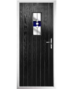 The Taunton Composite Door in Black with Blue Crystal Bohemia