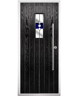 The Zetland Composite Door in Black with Blue Crystal Bohemia