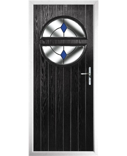The Queensbury Composite Door in Black with Blue Diamonds