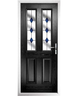 The Cardiff Composite Door in Black with Blue Diamonds