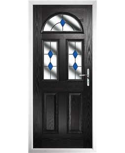 The Glasgow Composite Door in Black with Blue Diamonds
