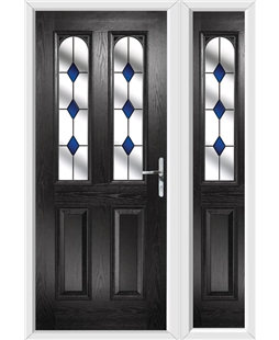 The Aberdeen Composite Door in Black with Blue Diamonds and matching Side Panel