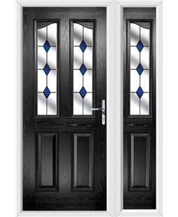 The Birmingham Composite Door in Black with Blue Diamonds and matching Side Panel