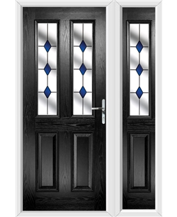 The Cardiff Composite Door in Black with Blue Diamond and matching Side Panel