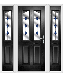 The Birmingham Composite Door in Black with Blue Diamonds and matching Side Panels