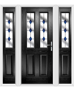The Cardiff Composite Door in Black with Blue Diamonds and matching Side Panels