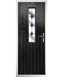 The Sheffield Composite Door in Black with Blue Diamond