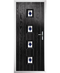 The Uttoxeter Composite Door in Black with Blue Diamonds