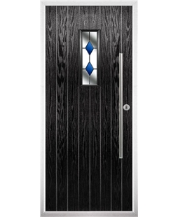 The Zetland Composite Door in Black with Blue Diamonds