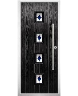 The Leicester Composite Door in Black with Blue Diamonds