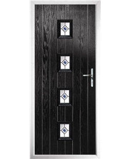 The Uttoxeter Composite Door in Black with Blue Fusion Ellipse