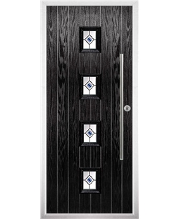 The Leicester Composite Door in Black with Blue Fusion Ellipse