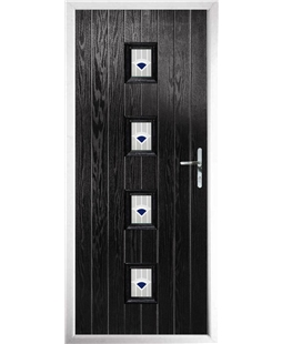 The Uttoxeter Composite Door in Black with Blue Murano