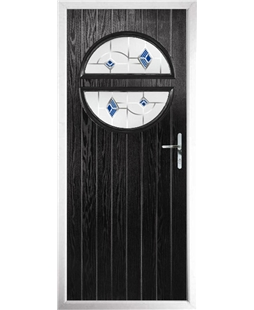 The Queensbury Composite Door in Black with Blue Murano